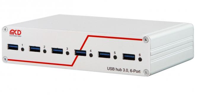 USB-Hub 3.0 6-Port, schaltbar , zwei Steuereingänge
